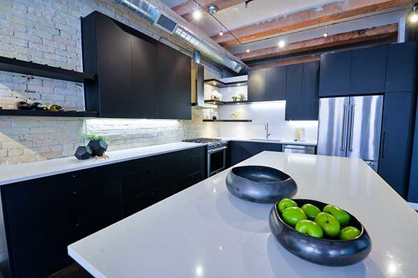 Black and white kitchen design in Winnipeg.