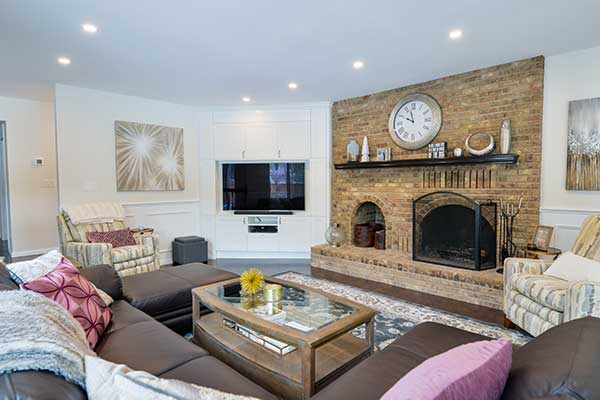 Newly renovated living room in Winnipeg. Mix of designers styles.